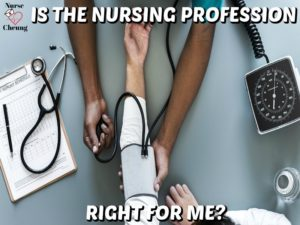 Hospital Clinic Setting with patient having blood pressure checked is the nursing profession right for you